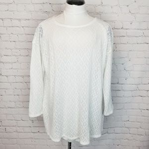 J.jill|Crochet Lace Split Back Thin Sweater
